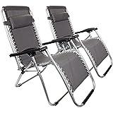 Parkland® Set de 2jardín Gravity tumbona plegable cama de sol relajante reclinable sillas, color gris