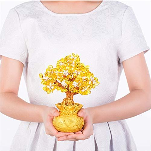 DsfddaeS Kristall Baum, Geld Baum, kristall glück Baum, geldbörse Baum, Bargeld Kuh, kreative Mode einrichtungsgegenstände, Dekoration zubehör,Yellow,Small