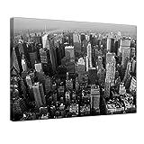 Kunstdruck - Skyline von New York - Bild auf Leinwand - 80 x 60 cm - Leinwandbilder - Bilder als Leinwanddruck - Städte & Kulturen - Amerika - New York - Manhattan - schwarz weiß