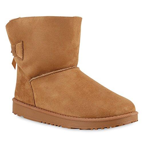 Warm Gefütterte Damen Stiefeletten Glitzer Stiefel Schlupfstiefel Boots Hellbraun Schleife