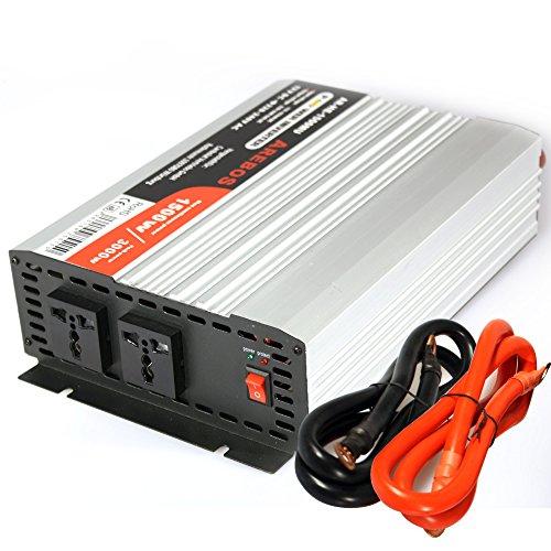 Arebos Spannungswandler Wechselrichter 1500 W / 3000 Watt 12V 230 Volt MODIFIZIERTE SINUSWELLE mit universaler Steckdose