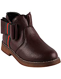 0e4429102 LCL By Walktrendy Girls Boots with Side Bow Applique in Maroon Colour
