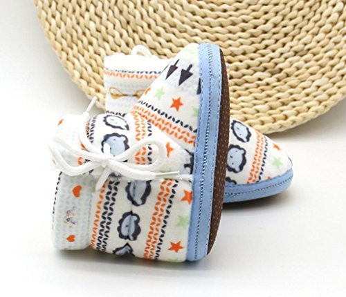OverDose Baby-Mädchen Jungen neugeborenes Kleinkind Druck lädt weiche dicker Baumwolle vor alleinige Aufladungen warme Schuhe Walker 0-12 Monate Blau3