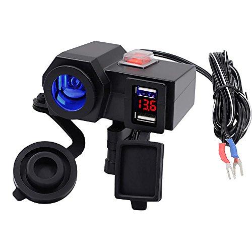KOBWA Motorrad USB Ladegerät, Dual 2.1v USB Ports Ladegerät,12V Kfz Ladegerät Wasserdicht Auto Adapter + Voltmeter, Zigarettenanzünder mit Schalter für Motorrad Auto ATV