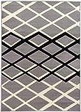 Designer grauer Kurzflor Teppich Lifestyle 08 grey geometrisches Muster (120 x 170 cm)