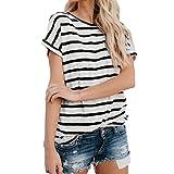 Damen Bluse Yesmile Frauen Kurzarm Streifen T-Shirt Casual Bluse T Shirt 2018 Frühling Sommer Gestreift Patchwork Oberteil Tops (S, Schwarz-A)