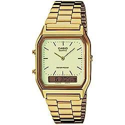 Casio Collection AQ-230GA-9DMQYES, Reloj Cuadrado, Unisex, Acero Inoxidable, Oro (Amarillo)