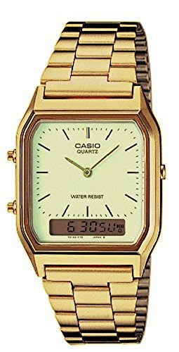 Casio Herren-Armbanduhr Retro Dual Digital Quarz Edelstahl AQ-230GA-9DMQYES  - Gold Watch Casio