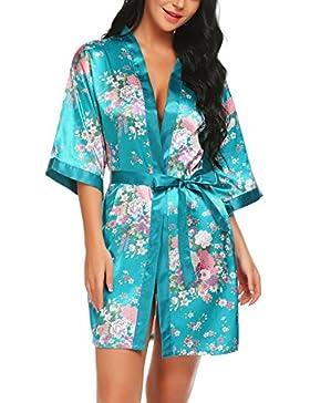 Scallop Donna Kimono Satin Robe Floral Print Sleepwear 3/4 Sleeve con cintura Pigiama Lingerie