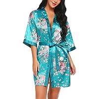Scallop Mujer Kimono Bata de Satén Estampado Floral Ropa de Dormir 3/4 Manga con Cinturón Pijama Lencería