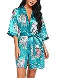 Scallop Mujer Kimono Bata de Satén Estampado Floral Ropa de Dormir 3/4 Manga con Cinturón Pijama...