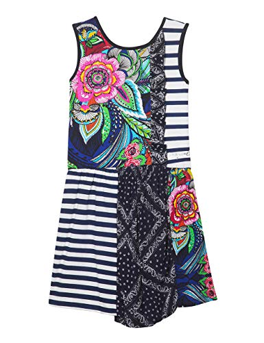 Desigual Mädchen Girl Knit Dress Sleeveless (Vest_Antananarivo) Kleid, Blau (Navy 5000), 140 (Herstellergröße: 9/10) Floral Print Knit Dress