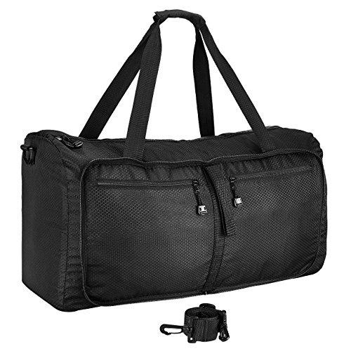 Omorc borsone viaggio, borsone palestra, borsa sportiva, 60l duffel bag di nylon impermeabile pighevole per gym, viaggio, vacanza, airport, per donne e uomini, nero