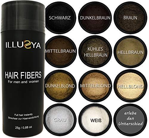 ILLUSYA - Schütthaar - Streuhaar - Hair Fibers zur Haarverdichtung - Premium Qualität, in Sekunden volles Haar - 25g (Dunkelbraun) Dunkel Braun