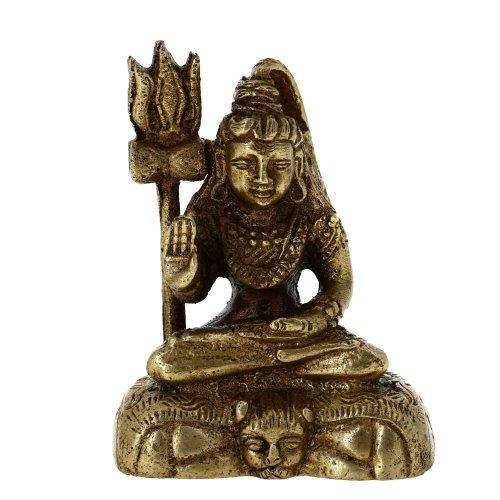 ShalinIndia Sitzender Shiva Statue Messing Religiöse indischen Kunst Hinduismus Geschenke Decor 7cm