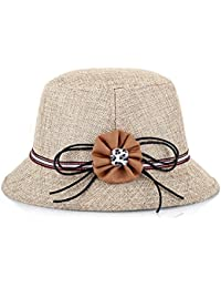Gespout Elegante Cappello da Donna Estivo Protezione UV Cappello Pescatore  Materiale di Lino Cappello da Sole 650ca088e268