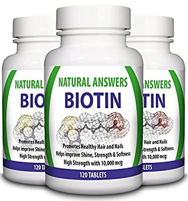 Biotin Hair Growth Supplement by Natural Answers - 360 Tablets 1 Year Supply - High Strength Biotin 10000mcg - Vitamin B7 for Healthy Hair, Nails & Skin - Suitable for Vegetarians - Uk Manufactured from Natural Answers