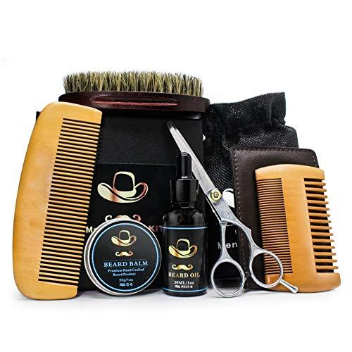 PanDaDa 6PCS Kits Soins de Barbe Huiles à Barbe 100% Naturel Organique Baume Peigne Brosse Ciseaux pour Barbes Moustaches Cadeau Anniversaire Noël Fête pour Homme