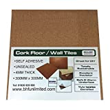 Boulder Developments Ltd - Láminas de corcho para suelos, paredes o manualidades (300 x 300 x 4 mm, autoadhesivas, 50 unidades)