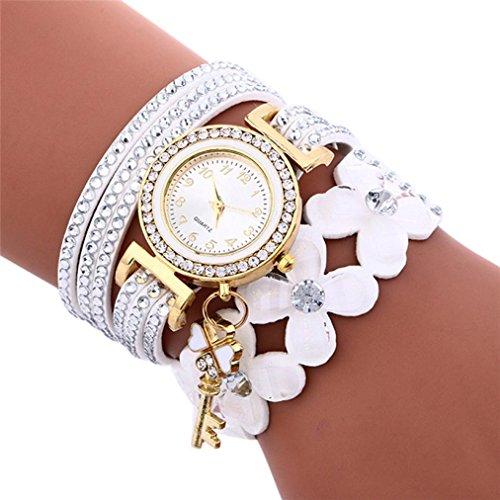 Yesmile Reloje❤️Reloj de Pulsera de Mujer Con Diamantes de Campanas de Moda Reloj de Mujer Con Diamantes de Lady Womans Fulaida (blanco)