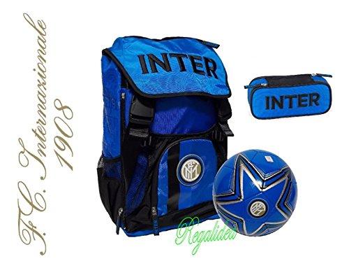 3a752b06c2 ZAINO SCUOLA INTER estensibile ORIGINALE NUOVA COLLEZIONE NEROAZZURRO calcio  tifoso + astuccio zip + omaggio pallone ...