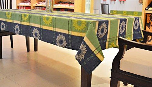 fdb86b352 Green Sun Flower Check Jacquard Table Cloth - 6 Seater - Size 150x210CM -  IndyaGadgets.com