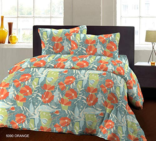 Bombay Dyeing Biggest Size 100% Pure Cotton California King (Super King) Size Double BedSheet (274cm X 274cm or 108x108 Inches or 9x9 Foot) with Two Pillow Cover (5090 ORG)