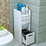LUYIASI- Weißes wasserdichtes freistehendes dünnes Bad-Kabinett mit Mülldose-Gewebe-Zufuhr-Mehrzweckharz-Toiletten-Seitenschrank-Bad-Eck-Schrank-Zahnstange Bathroom Racks ( größe : With trash cans )