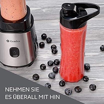 Gemlux-PSB-600-Personal-Blender-Kompakt-langlebig-Leicht-zu-reinigender-Mini-Entsafter-Verschliebare-Becher-fr-unterwegs-Fr-Sport-Arbeit-Fitnessstudio-Gewichtsabnahme-Reisen