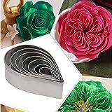 Zonster 7 PC/Satz Austin Rose Cutter-Kuchen-Dekoration Werkzeuge Edelstahl-Wasser-Tropfen-Form-Fondant-Blumen-Formen Petal Stencils PläTzchen H858