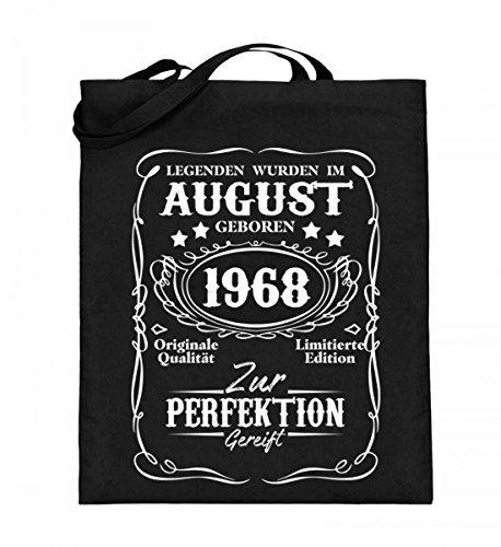 Hochwertiger Jutebeutel (mit langen Henkeln) - Legenden August Geburtstag 1968 Schwarz