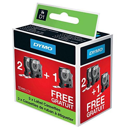 Dymo D1-Etiketten, für den Drucker LabelManager, 12 mm x 7 m, Sonderedition 2 + 1, schwarz auf weiß