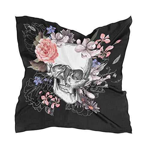 QMIN Schal aus Seide, quadratisch, Vintage-Stil, Totenkopf-Rose, modisch, leicht, Haarband, ordentliche Halstuch, für Damen, 60 x 60 cm (Vintage Kaufen Halloween-masken)