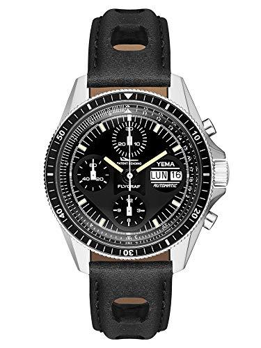 Yema FLYGRAF Heritage Herren-Armbanduhr Chronograph Schweiz ETA Valjoux 7750 – Tag-/Datumsanzeige – Einlage aus gebürstetem Aluminium – Gehäuse 39 mm – Armband aus pflanzlichem Leder – YFLY2018-AA