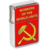 Lavoratori of the World Unite falce e martello Coperchio A Scatto Accendino