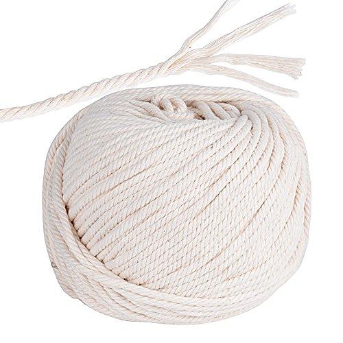 95m Cuerda Cordel de Algodón Hilo Macramé, 4 mm de diámetro, para Envolver Regalo Navidad, Colgar Fotos, Manualidades, Costura, DIY Artesanía