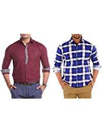 Solid Combo Of Two Readymade Shirts For Men By Mark Pollo London(Check Wine,CheckBlue)