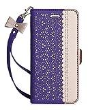 WWW iPhone 6S Schutzhülle, iPhone 6Fall, [Luxuriöses geschnitzt Blumen] Leather Wallet Schutzhülle mit [Schminkspiegel] und in [Ständer Funktion] für Apple iPhone 6/6S, A-Purple