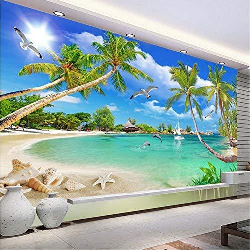 Wuyyii Benutzerdefinierte 3 D Fototapete Wandbilder 3D Tapete Strand Baum Wellen Rasen Weg Möwen Benutzerdefinierte 3D Wallpaper Home Decor-120X100CM - Weg Wallpaper