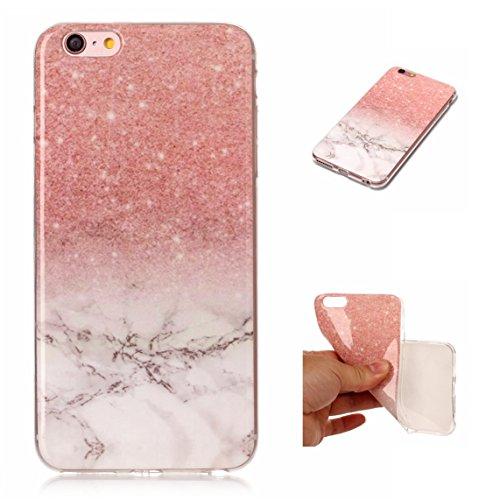 iPhone 6 Hülle, Voguecase Silikon Schutzhülle / Case / Cover / Hülle / TPU Gel Skin für Apple iPhone 6/6S 4.7(Marmor Serie -Rot) + Gratis Universal Eingabestift Marmor Serie -Pink und Weiß