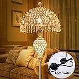 FHTD K9 Kristall Stehlampe Europäischen Wohnzimmer Schlafzimmer Kreative Hochzeit Zimmer Luxus Vertikale Tischlampe Fernbedienung Schalter Elegante Warme Romantische Stehlampe,A