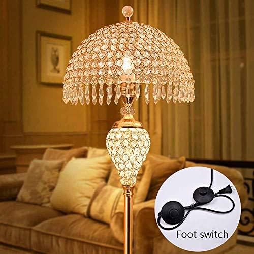FHTD K9 Kristall Stehlampe Europäischen Wohnzimmer Schlafzimmer Kreative Hochzeit Zimmer Luxus Vertikale Tischlampe Fernbedienung Schalter Elegante Warme Romantische Stehlampe,A -