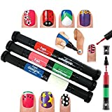 #2: Glowing Buzz 2 in 1 Nail Art Polish Pens With 6 Glitz - Multicolor