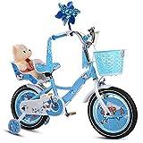 Kinder Fahrrad Mädchen Kinderwagen Kinder Schüler Einstellbare Fahrrad Verbesserte Reifen Weiblich Sicher Komfortabel Für Kleinkinder High-Carbon Stahl Balance Leichtes Fahrrad Mode Geschenk,Blue-14Inches
