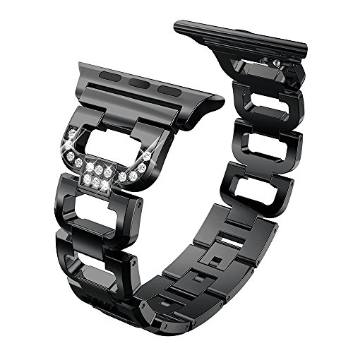 Watch Serie 4-38/40mm und 42/44mm, Kristall Diamont Edelstahl Ersatz-Armband Zubehör für i Watch Series 3/2 / 1 (42mm/44mm, Black) ()