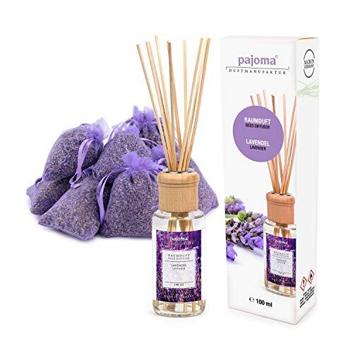 Pajoma 10 Lavendelsäckchen Lavendelbeutel Sachets Plus wahlweise mit Duftöl Raumduft oder Kerzen (Raumduft Set) -