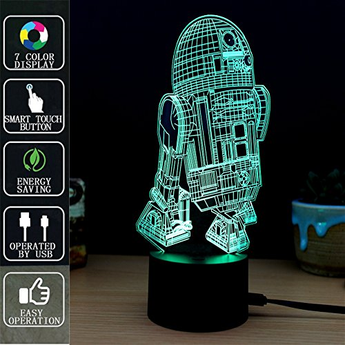 Robot Lámpara de mesa 3D Night Light Touch, Lámpara de mesa Fipart 7 Color Phantom Ambiance, Con Base Acrílica Y Luces LED Inteligentes Decorativas,Modo USB y alimentado por batería