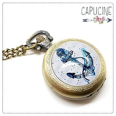 Montre à gousset bronze avec cabochon verre ancre marine - sautoir montre motif marin bateau - La Barre & l'Ancre - idée cadeau noel, cadeau saint valentin, cadeau pour femme