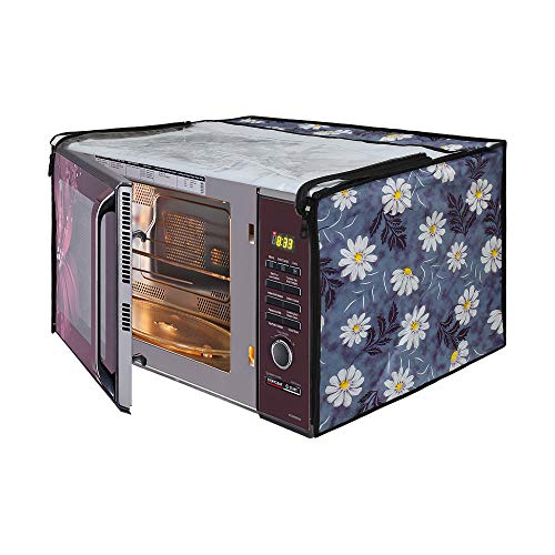 Glassiano White Flower Printed Microwave Oven Cover for Godrej 23 Litre Convection Microwave Oven GMX 23CA1 MKM, Sliver