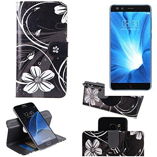 K-S-Trade Schutzhülle für Nubia Z17 Mini S Hülle 360° Wallet Case Schutz Hülle ''Flowers'' Smartphone Flip Cover Flipstyle Tasche Handyhülle schwarz-weiß 1x